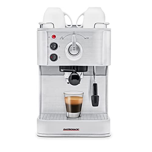GASTROBACK 42606 Design Espresso Plus Cafetera Puls, 1250 W, 1 Liter, 0 Decibeles, Acero Inoxidable, Plata