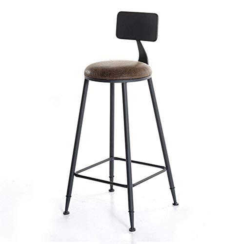 Barstoel barkruk zwart barokstoel industriële kruk kruk bruin vintage lederen kussen met rugleuning, anti-slip stoel voor eenvoudige koffie, voetensteun thuis