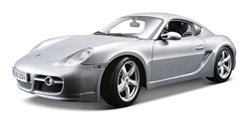 Maisto Porsche Cayman S: modelauto met vering, schaal 1:18, deuren en motorkap beweegbaar, klaar model, bestuurbaar, 24 cm, zwart (531122)