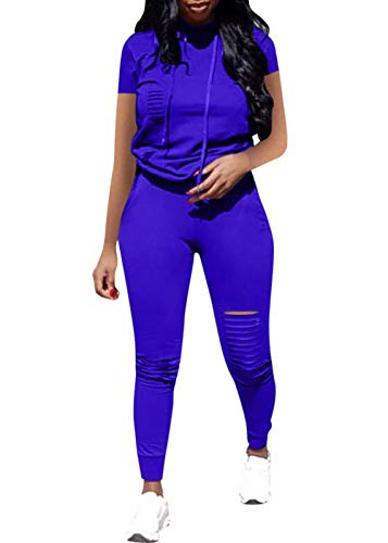Women Casual 2 Piece Sport Outfits Short Sleeve Ripped Hole Pullover Hoodie Sweatpants Set Jumpsuits (Blue, XXL)