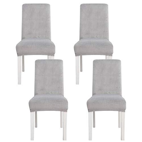 JHLD Esszimmer Stuhlhussen, Samt Stretch Stuhlhussen Abnehmbarer Universal Stuhlschutz Waschbarer Für Hotel Esszimmer Küche-Gray B-Set of 4