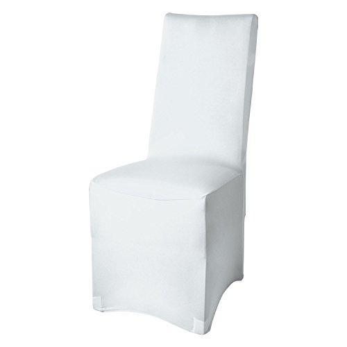 Beautissu Funda para sillas - Banquete Leona - 45x90 cm Funda elástica - Elegante Bi-elástica - Oeko-Tex - Blanco