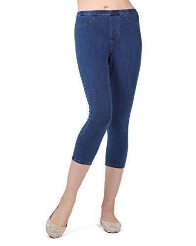 MeMoi Womens Weekend Denim Capri Legging Pocket Pants, Medium Wash, Small / Medium