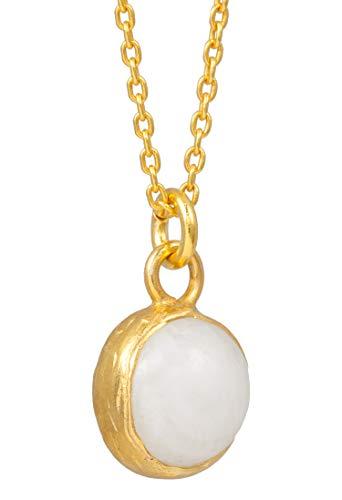 Sarah Bosman Damen Halskette Gold Globe Moonstone - Kette Kugel Anhänger eingefasster Weißer Edelstein Silber vergoldet - 9 mm Durchmesser - SAB-N04WHIMOOg