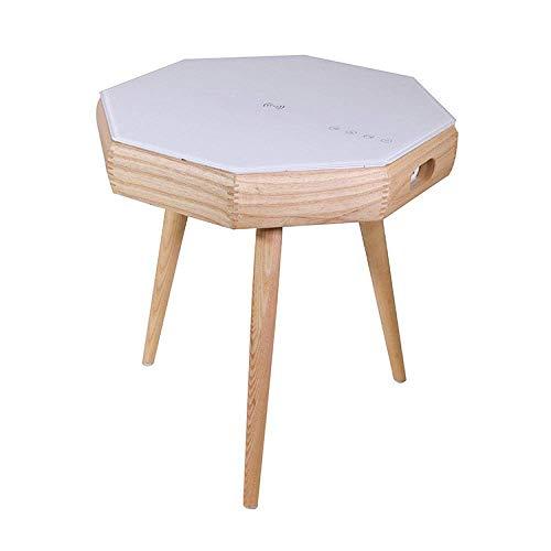 Tägliche Ausrüstung Aufladen Couchtisch Laptop Computertisch Ecke Beistelltisch Bluetooth-Lautsprecher Schreibtisch Für Wohnzimmer Schlafzimmer Nachttisch Balkon Runder Beistelltisch Möbel Holzfarb