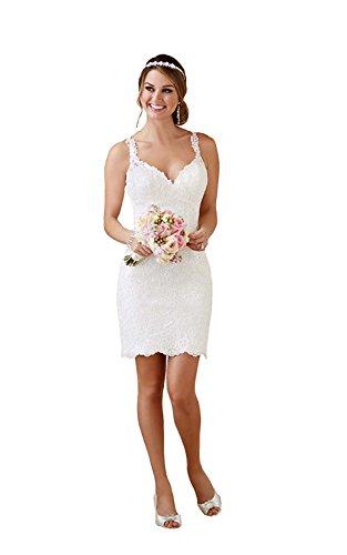 YASIOU Hochzeitskleid Damen Kurz Spitze Tüll Herzausschnitt Glitzer Standesamt Vintage Sexy Meerjungfrau Brautkleid