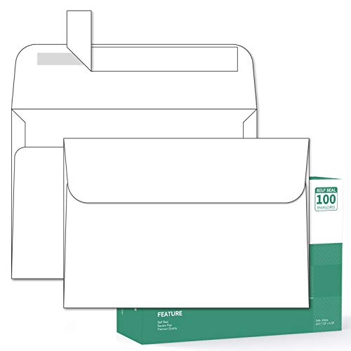 Ohuhu A7 Printable White Envelopes 5X7 100 Pack - Quick Self Seal,for 5x7 Cards, Perfect for Chirstmas Cards, Weddings, Invitations, Photos, Graduation, Baby Shower, 5.25 x 7.25 inches A7