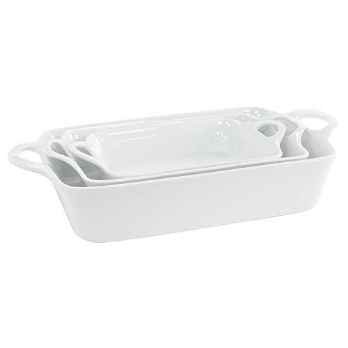 ProCook - Set de Plats de Cuisson en Porcelaine Blanc 3 pièces