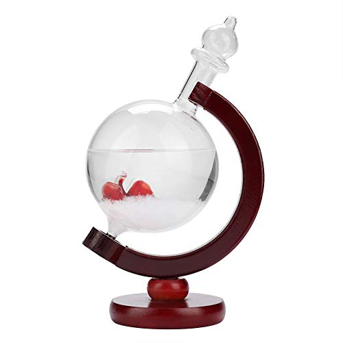 WolfGo Desktop Storm Glas Weerstation Decoratie voor Home Office Company, Roos Rood Weer Voorspeller met Temperatuur Wijziging Detectie, met Schijfvormige Houten Basis