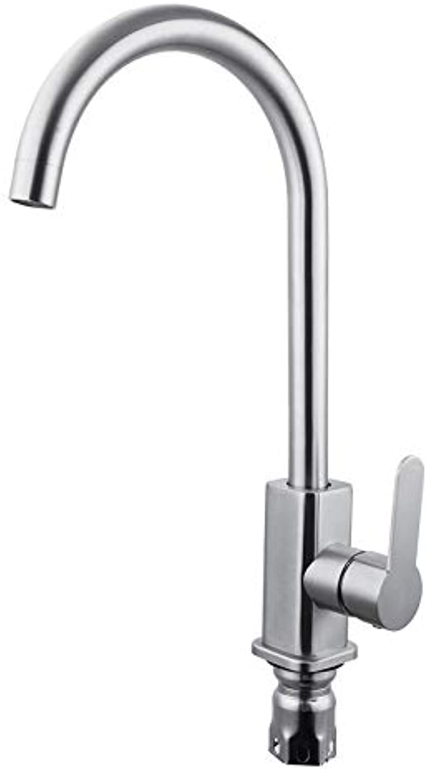 Stainless Steel hot and Cold Square Dish Faucet Kitchen Sink Sink Sink Brushed Faucet Stainless Steel