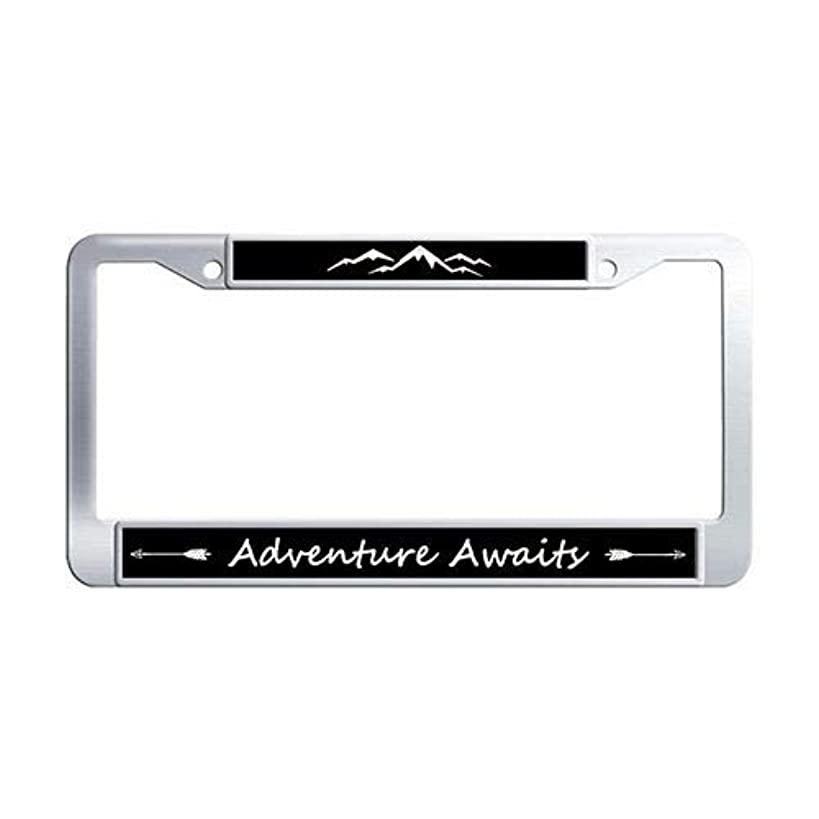 Framespolishisf Adventure Awaits License Plate Frame Holder Stainless Steel Auto License Cover Holder