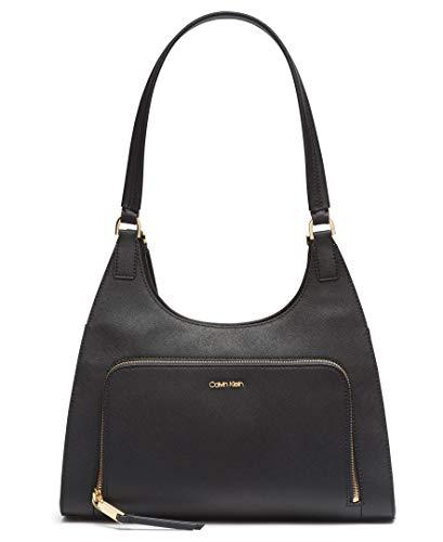 Calvin Klein Ava Saffiano Leather Triple Compartment Hobo Shoulder Bag, BLACK/GOLD