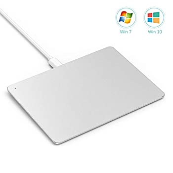 USB Touchpad Trackpad Jelly Comb Ultra Slim Portable Aluminum USB Wired Touchpad with Multi-Touch Navigation for Windows 7/10 PC Laptop Notebook Desktop-T055  Silver