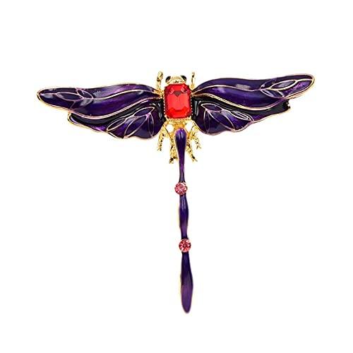 Broches de libélula de cristal coloridos para mujer esmalte de moda Pin...