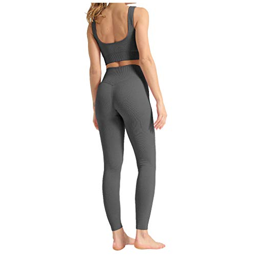 Damen Yoga Trainingsanzüge Sport Shirt Langarm Trainingshose Set Yoga Hosen Leggings Tights Shape Stretch Sporthose für Workout Gym Joggen Trainings Fitness Laufen Hosen riou Günstig (B-Grau, S)