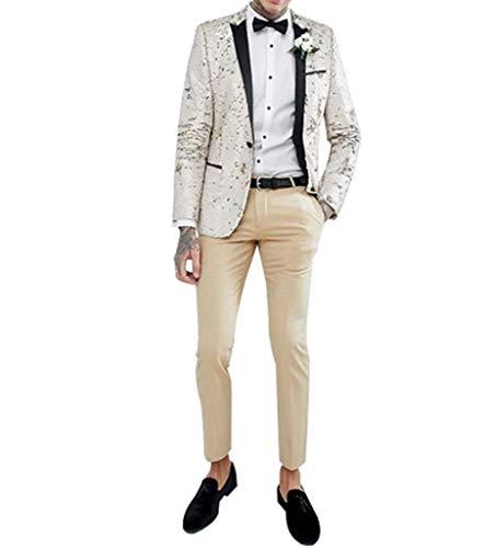 Judi Dench Herren Pailletten Glitter 1-teilig Slim Fit One Button Blazer Jacke, Groesse 2XL, Champagner