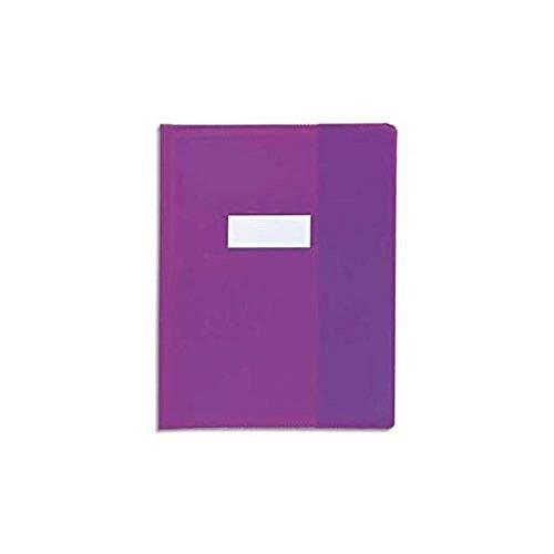 Calligraphe (gamme scolaire Clairefontaine) 72006AMZC - Un protège-cahier grain cuir 17x22 cm 22/100ème avec porte-étiquette, en PVC (plastique) opaque, Violet