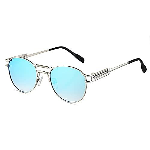 SHEEN KELLY Gafas de sol redondas John Lennon Retro Steampunk Aleación de metal Bisagras de resorte ovaladas Gafas