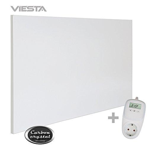 VIESTA H600 Infrarotheizung Carbon Crystal (neueste Technologie) Heizpaneel Heizkörper Heizung Heating Panel ultraflache Wandheizung Weiß 600 Watt TH10 Thermostat