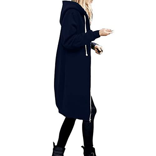 Damen Hoodies Sweatjacke Lange Mantel mit Kapuze Winter Jacke Mantel Outwear Frauen Warm Zipper Long Coat Solid Stricke Pullover Parka Wintermantel