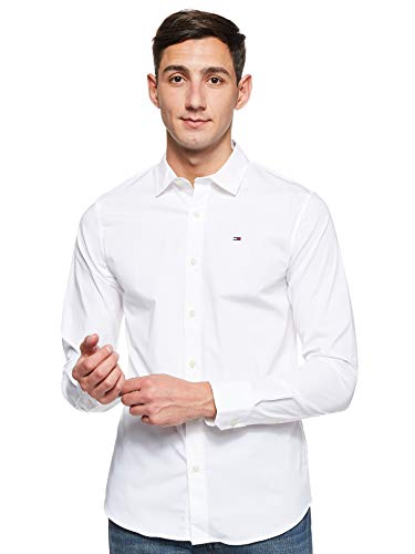 Tommy Hilfiger Original Stretch Camicia Casual, Bianco (Classic White 100), Medium Uomo