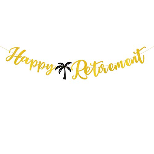 Happy Retirement Bunting Banner Letter Banner Paper Coconut Flag with Golden Ribbon DIY Garlands Baptism Unisex Retirement Party Supplies Living Room Home Family Decoration