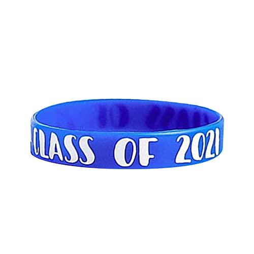 AIHOME Pulseras de clase 2021, pulsera de goma para celebrar graduación, para estudiantes de profesores mayores de 2021 graduados, recuerdo de fiesta de graduación (azul)