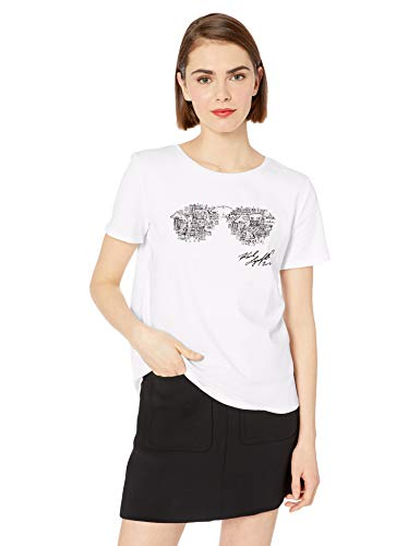 Karl Lagerfeld Paris Damen Skyline Sunglass Tee T-Shirt, Weiß (Soft White), Groß