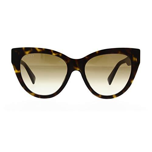 Gucci Sonnenbrillen GG0460S Dark Havana/Brown Shaded Damenbrillen