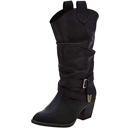 Kaister Damen Stiefeletten Worker Boots Flache Fersenstiefel Reißverschluss long Boot Flandell