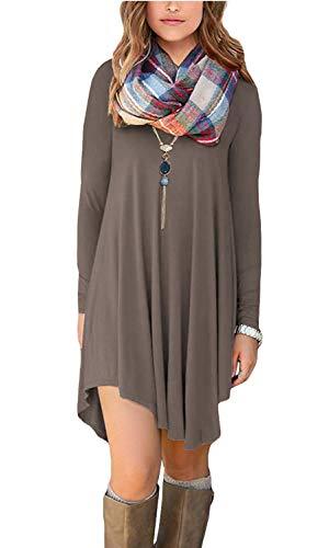 Women's Long Sleeve Casual Loose T-Shirt Dress Brown M