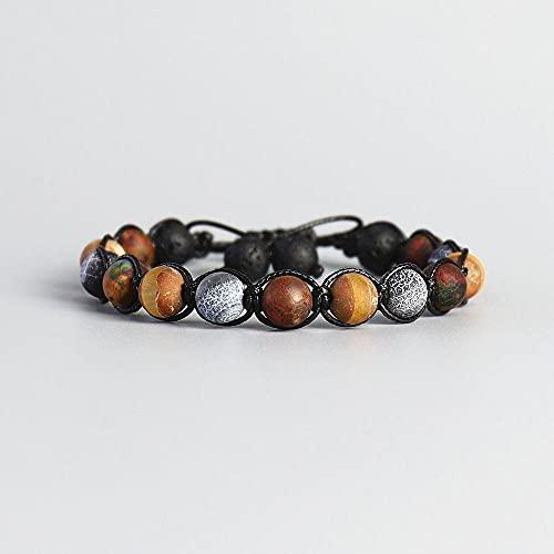 Pulsera De Huella De Piedra Natural De Los Hombres Hechos A Mano Tibetano Vintage Bead Cuerda De Cera Black Lava Rock Beads Pulsera