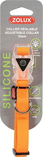 Zolux Collier Réglable En Silicone Avec Boucle Lumineuse Pour Chien Largeur 15 Mm - 27 À 42 Cm - Orange Pour Chien