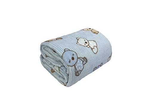 Cobertor Infantil Microfibra Ursinhos Azul 0,80X1,10M-CAMESA