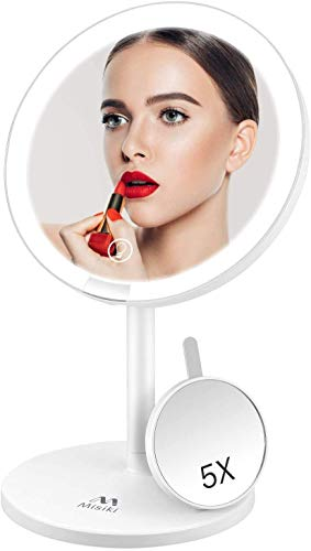 Misiki Vanity Mirror with Lights 5X Magnifying Makeup Mirror LED Ring Light Makeup Mirror Light Up Vanity Mirror with Touch Screen amp USB Rechargeable 135° Rotation Portable Travel LED Cosmetic Mirror