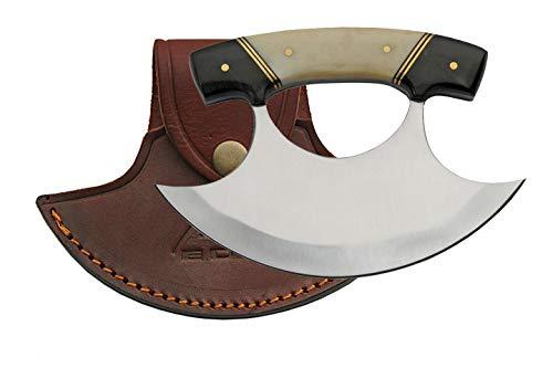 SZCO Supplies 5.5' Horn/Bone Handle Crescent Blade Ulu Knife with Sheath