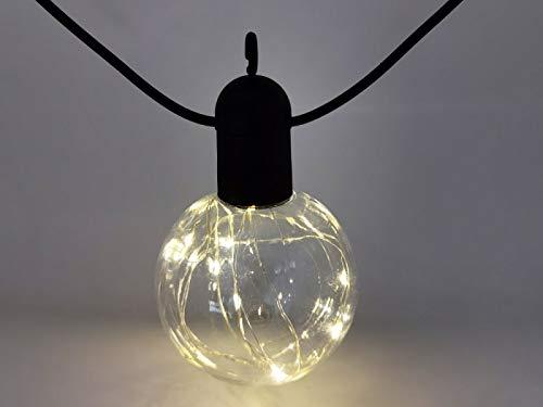 Guirnalda exterior 5 m para conectar 10 bolas 100 micro LED blanco cálido
