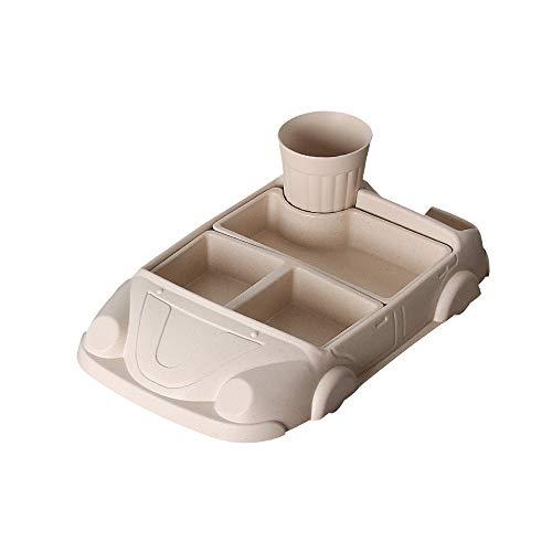 Trustme Ensemble de table en fibre de bambou pour enfant Passe au lave-vaisselle pour enfants Table ronde en fibre de dessin animé en forme de voiture Assiettes bol tasse d'eau beige