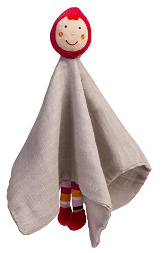 EBULOBO - Doudou Chaperon Rouge Poly Coton, Tout Doux, 34 x 34 cm - Lavable machine 30° - Création Française