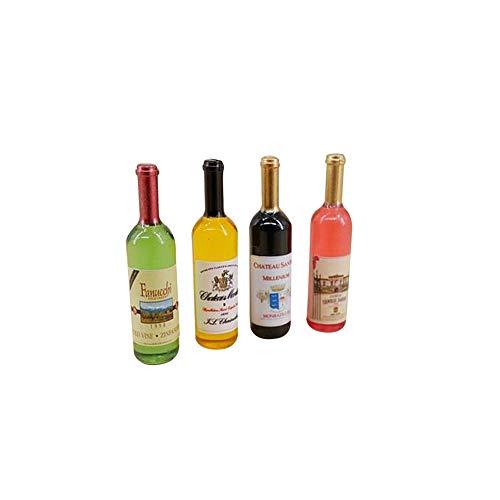 Gcroet 4pcs Puppenstubenweinflaschen 01.12 Miniatur Bunte Weinflaschen Puppenküchenzubehör