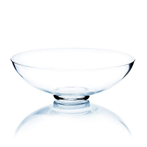 """WGV Bowl Glass Vase, Open Width 8"""" Height 3"""" Clear Round Container Fruit Plate Candy Dish (Can be Used with Trumpet Vase) for Wedding Event Party Home Office Decor 1 Piece"""