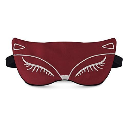 Máscara de Ojos para Dormir Sexy, máscara de Ojos para Dormir de Seda 100% Natural, Sombra de Ojos de Zorro Sexy, Regalo de máscara de sueño para Hombres y Mujeres Novias Familiares Rojo