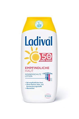 LADIVAL Empfindliche Haut Sonnenschutz Lotion LSF 50+ - Parfümfreie Sonnenlotion ohne Farb- und Konservierungsstoffe - wasserfest, 200 ml