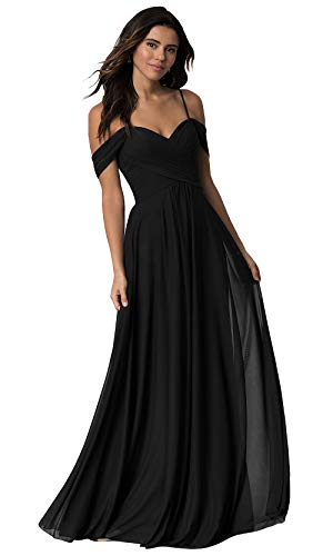 WuliDress Women's Off The Shoulder A Line Pleated Bridesmaid Dress Long Chiffon Party Prom Formal Gown Black Size 16