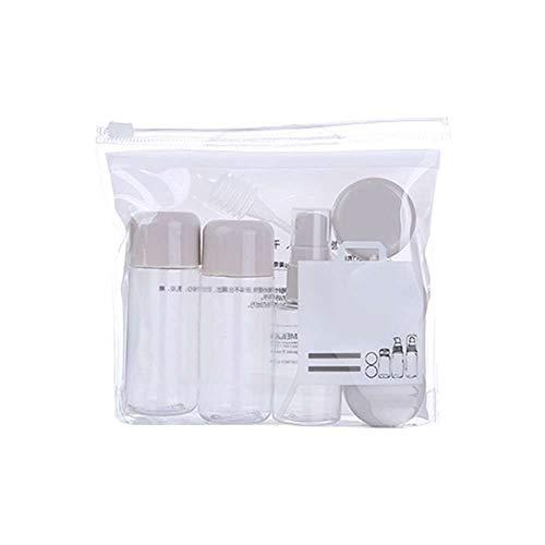 XJF 8 unids/set mini maquillaje cosmético cara crema pote botellas plástico transparente vacío maquillaje envase botella viaje kit accesorios