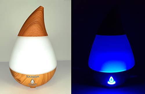 SANDA 3en1 humidificador, difusor de aromas y lámpara LED con 7 colores para elegir, aromaterapia, purificador de aire capacidad 235 ml