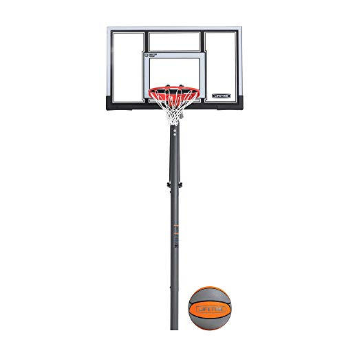 Lifetime 90962 Power Lift Adjustable In-Ground Basketball Hoop with Basketball, 54-Inch, Polycarbonate