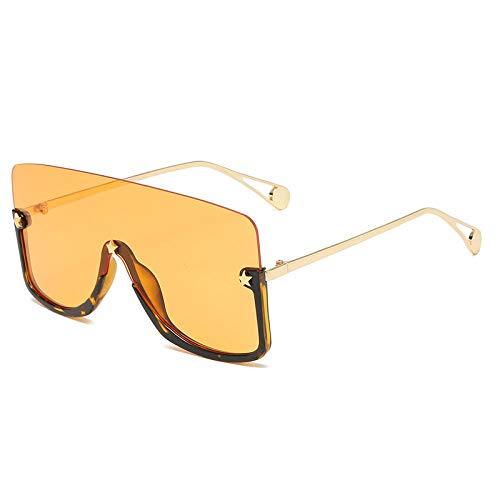 DLSM Gafas de Sol cuadradas de Gran tamaño Las Gafas de Sol de la Lente de la Lente de la Lente para Hombres para Hombres Vintage Media Marco Plano Top Gafas UV400-amarillo