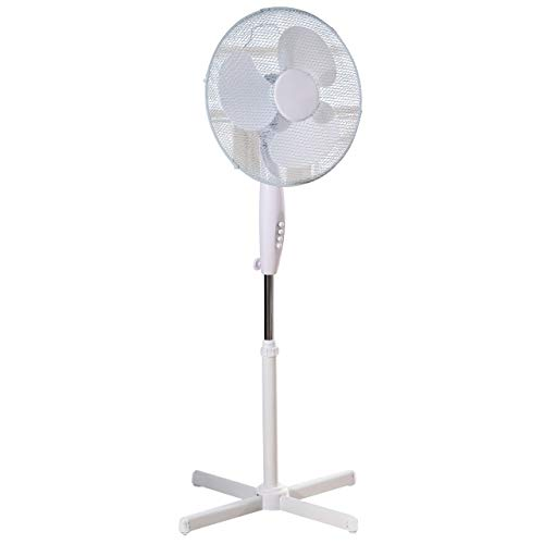 Daewoo 16-Inch Pedestal/Stand, Portable Fan for Home or Small /Large Office, 3 Speed Settings, Sturdy Base, Easy-to-Use Key Switch, Ideal Cooling System-White, White - One Size