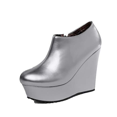 Zapatos de Mujer, tacón de cuña, Moda, Punta Redonda, Primavera otoño, Cremallera, Uso Diario, Estilo Universitario, Zapatos Gruesos, Botines ultraligeros